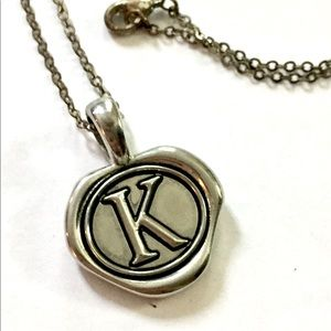 K Wax Stamp Necklace Silver